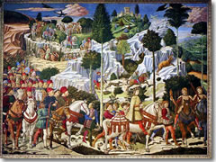 The Procession of the Magi frescoes by Benozo Gozzoli in the Palazzo Medici-Riccardi.