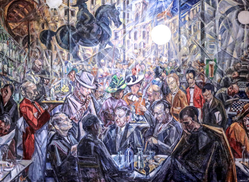 Baccio Maria Bacci's Salaria alle Giubbe Rosse (1930–40) is set in the famed cafe on Florence's Piazza della Repubblica, in the Galleria d'Arte Moderna at the Palazzo Pitti, Florence.
