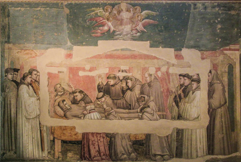 Giotto's Death of St. Francis in the Cappella Bardi of Santa Croce church, Florence. (Photo by Kotomi)