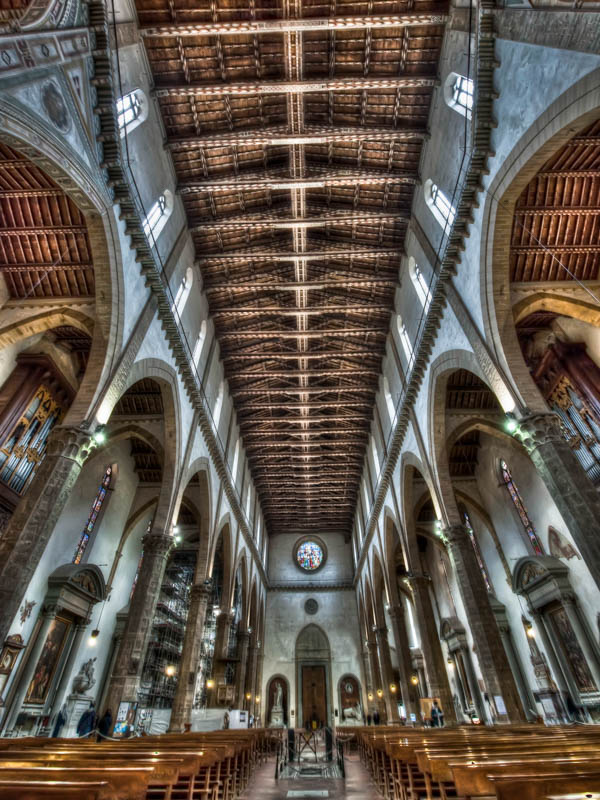 The nave of the Basilica di Santa Croce, Florence, Florence. (Photo by Augusto Mia Battaglia)