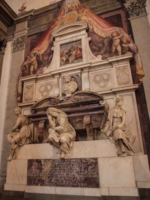 Michelangelo's grave monment in Santa Croce church, Florence. (Photo by Rebecca Dominguez)