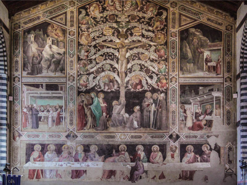 14C frescoes by Taddeo Gaddi in the Refectory of Santa Croce showing the Tree of Life above The Last Supper. (Photo by Kotomi)