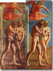Explusion from the Garden of Eden by Masaccio in the Brancacci Chapel of Florence's church of Santa Maria del Carmine - Bot before and after the 1980s cleaning