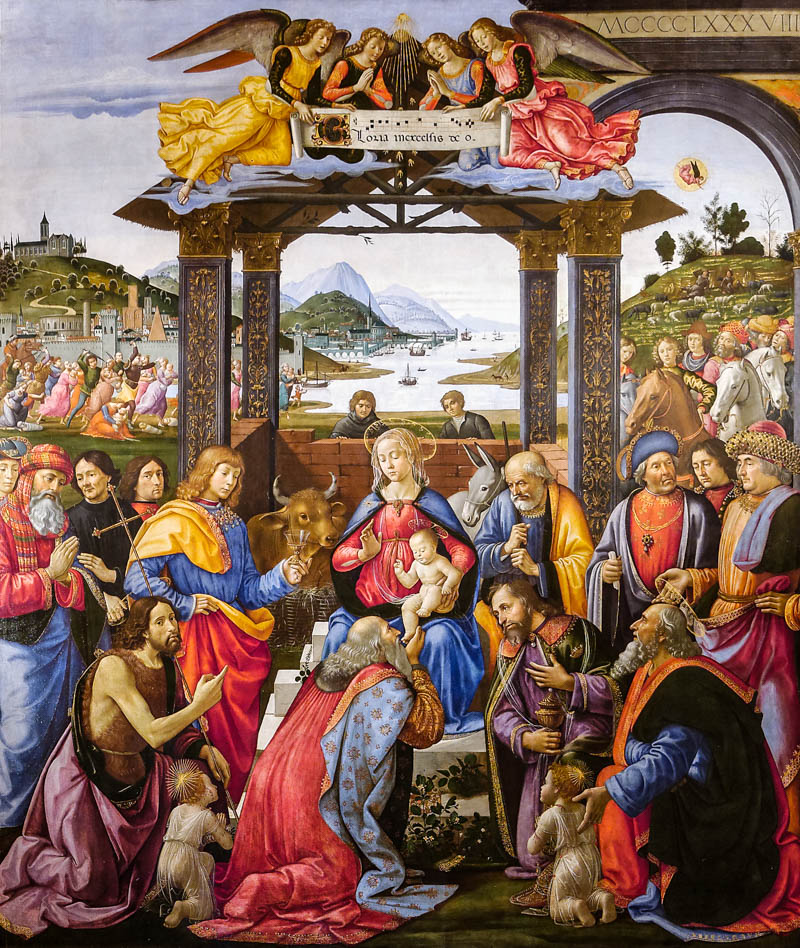 Ghirlandaio's Adoration of the Magi in the pinacoteca of the Sepdale degli Innocenti, Florence