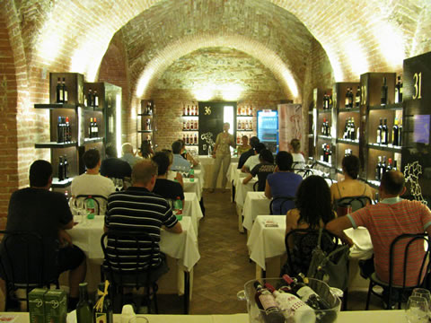 A wine class at the Enoteca Italian Permanente Siena wine museum