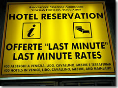 Venice hotel reservations office in the Santa Lucia train station