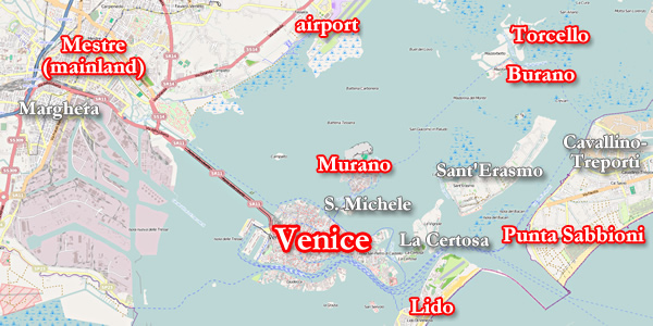 The layout of Venice Its canals major streets and bridges and – Venice Italy Tourist Map