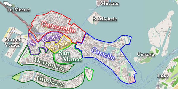 The Layout Of Venice Its Canals Major Streets And Bridges And - Venice map image