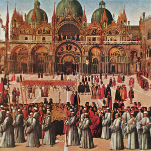 A painting of Piazza San Marco by Bellini in the Galleria della'Accademia in Venice