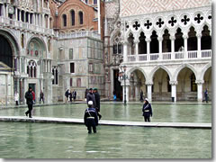 Venice residents and visitors have to walk along the passarelle (elevated boardwalks) set out on the main streets and piazze during the acqua alta (high water) periods of winter.