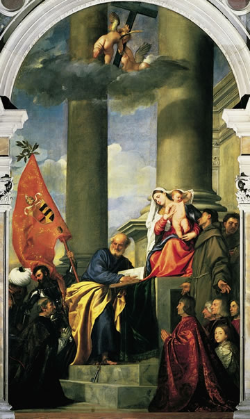 titian's Madonna of the Pesaro Family (1519/26) in I Frari church in Venice.