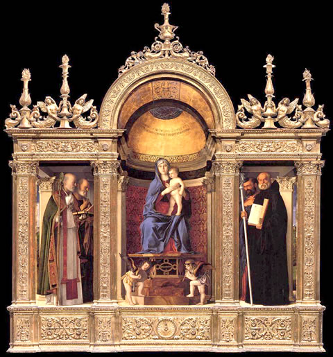 Giovanni Bellini's 1488 Madonna and Child triptych in I Frari church.
