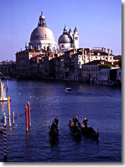 Gondolas on the Grand Canal of Venice.
