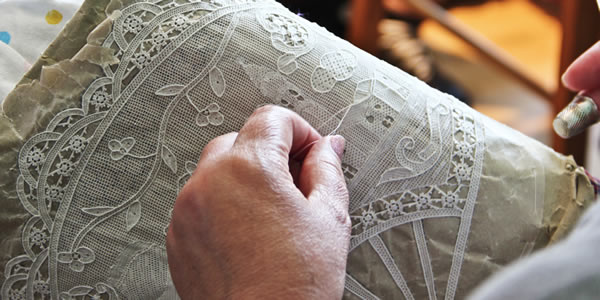 Lace being made on the island of Burano in Venice