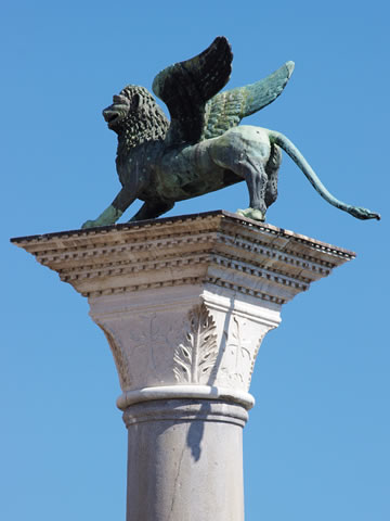 Lion of San Marco atop a column on Piazzetta San Marco, Venice