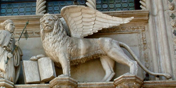 The Lion of San Marco on the Palazzo Ducale in Venice