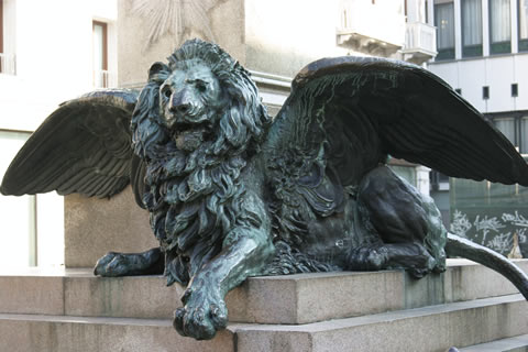 A Lion of San Marco from a 19th century monument on Campo Manin, Venice