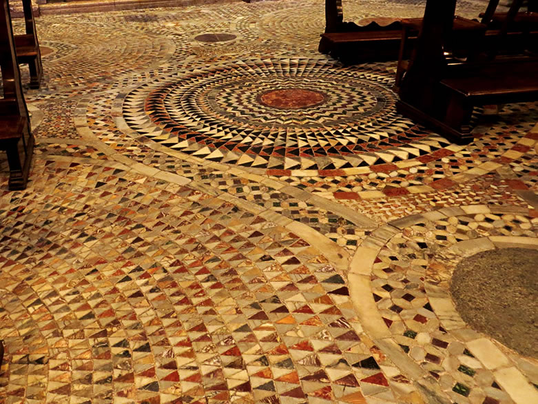 The inlaid stone pavement in Basilica San Marco, Venice.