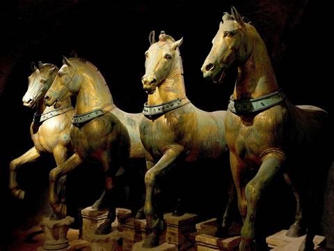 The quadriga trionfale, ancient statues of four chariot horses in St. Mark's Cathedral in Venice.