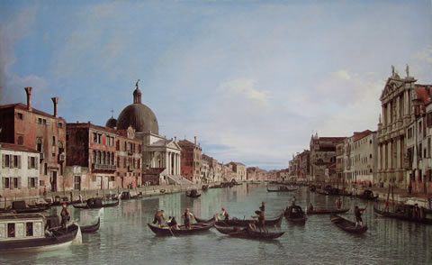 The Upper Reaches of the Grand Canal with S. Simeone Piccolo (1738) by Canaletto