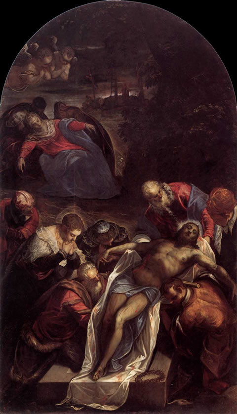 Deposition or Entombment (1594) by Jacopo Tintoretto in the church of San Giorgio Maggiore, Venice