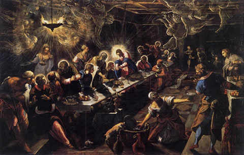 Cenacolo (The Last Supper) (1592/94) by Jacopo Tintoretto in the church of San Giorgio Maggiore, Venice