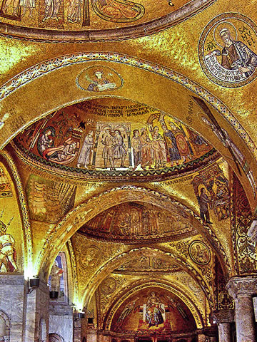 The glittering gold mosaics of St. Mark's Cathedral in Venice.